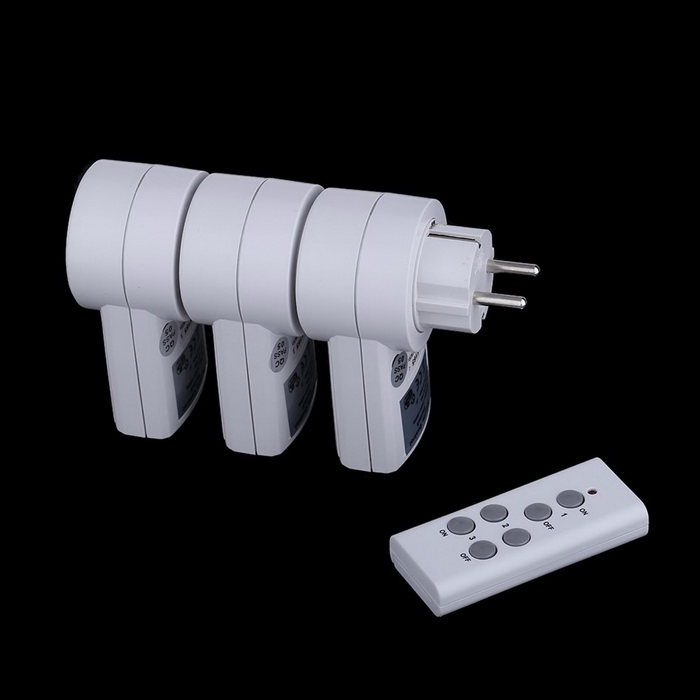 Remote Control Power Outlet Plug Socket Switch Set for Lamps (3PCS)