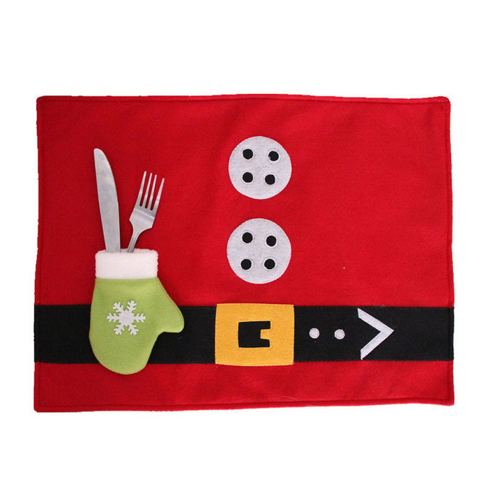 Christmas Commodity Cutlery Table Mat - Red