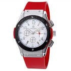 MEGIR Men's Multifunction Waterproof Fashion Silicone Wristband Quartz Watch - Red + White