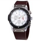 MEGIR Men's Multifunction Waterproof Fashion Silicone Wristband Quartz Watch - Brown + White