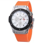 MEGIR Men's Multi-Function Waterproof Silicone Wristband Analog Quartz Watch - Orange + White
