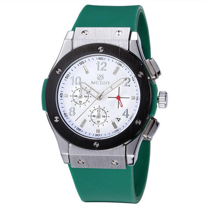 MEGIR Men's Waterproof Silicone Wristband Watch - Green + White