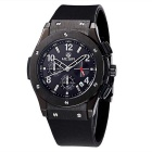 MEGIR Men's Multi-Function Waterproof Silicone Wristband Analog Quartz Watch - Black