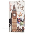 Fashion Retro Big Ben Pattern PU Wallet w/ Card Slots - White + Grey
