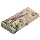 Fashion Eiffel Tower Pattern PU Wallet w/ Card Slots - Off-white+Grey