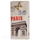 Fashion Retro Eiffel Tower Pattern PU Wallet w/ Card Slots / Concealed Button - White + Grey