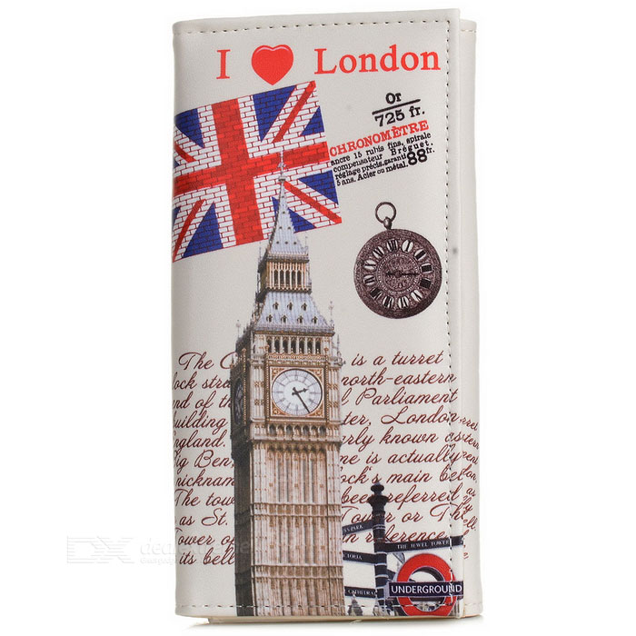 Retro Big Ben Pattern PU Wallet w/ Concealed Button - White + Grey