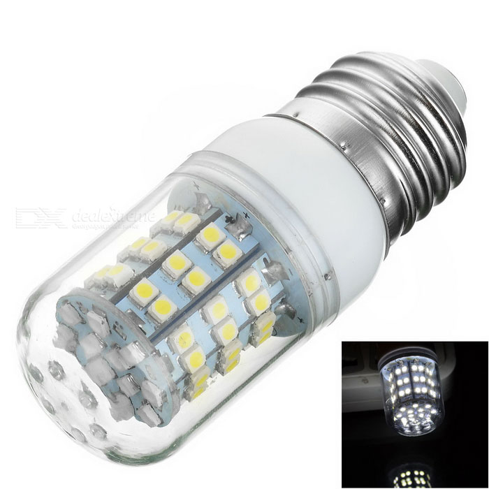 E27 7W 230lm 60-SMD 3528 Cold White Light Corn Lamp (AC 220~240V)E27<br>Form  ColorTransparent + White + Multi-ColoredColor BINCold WhiteMaterialPCBQuantity1 DX.PCM.Model.AttributeModel.UnitPower7WRated VoltageAC 220-240 DX.PCM.Model.AttributeModel.UnitConnector TypeE27Emitter Type3528 SMD LEDTotal Emitters60Theoretical Lumens350 DX.PCM.Model.AttributeModel.UnitActual Lumens230 DX.PCM.Model.AttributeModel.UnitColor Temperature6000KDimmableNoBeam Angle360 DX.PCM.Model.AttributeModel.UnitPacking List1 x Lamp<br>