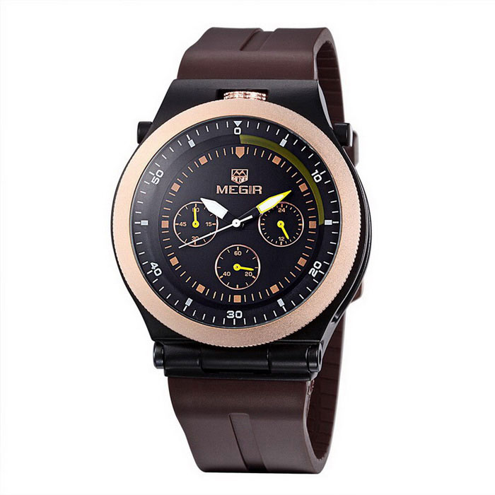 MEGIR Men's Waterproof Silicone Wristband Sport Watch - Black + Brown
