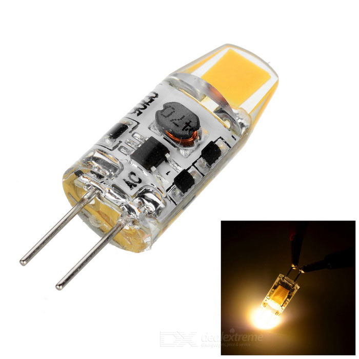 G4 0705 1W 110lm 3000K Warm White Light LED Light (AC/DC 9~12V)G4<br>Form  ColorTransparent + YellowColor BINWarm WhiteMaterialSiliconeQuantity1 DX.PCM.Model.AttributeModel.UnitPowerOthers,1WRated VoltageOthers,9~12 DX.PCM.Model.AttributeModel.UnitConnector TypeG4Chip Type0705Emitter TypeOthers,0705Total Emitters1Theoretical Lumens150 DX.PCM.Model.AttributeModel.UnitActual Lumens110 DX.PCM.Model.AttributeModel.UnitColor Temperature3000KDimmableNoBeam Angle360 DX.PCM.Model.AttributeModel.UnitPacking List1 x Light<br>