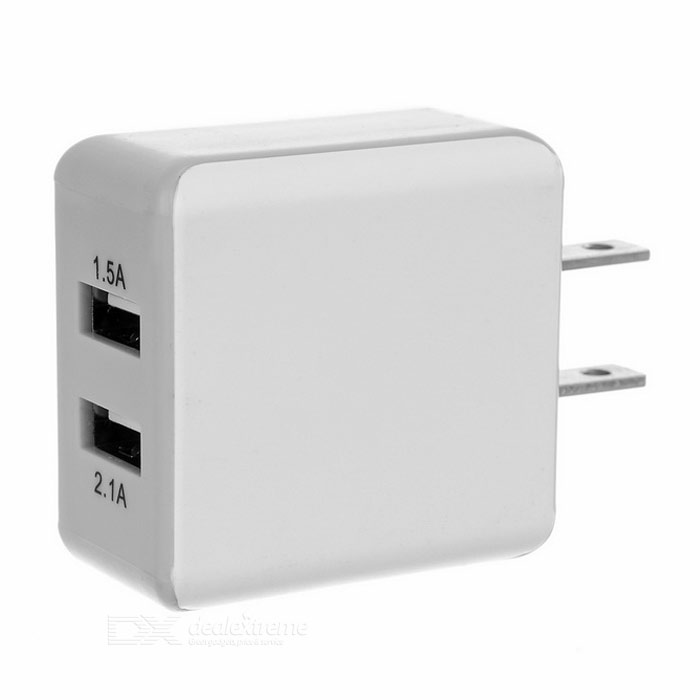 Carré Type US Plugs 100 ~ 240V Power Adapter w / Dual USB - Blanc
