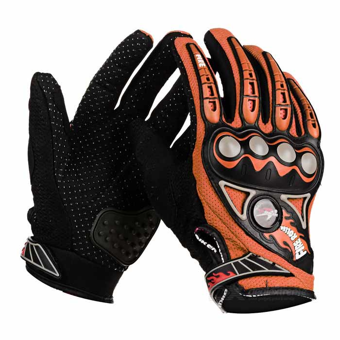 PRO-BIKER MCS23 Bike Motorcycle Outdoor Cycling Breathable Full-Finger Gloves - Orange (Pair / M)