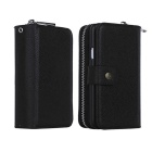 Handy Zipper PU Leather + TPU Wallet Card Holder Phone Case Cover Bag for Samsung Galaxy S5 - Black