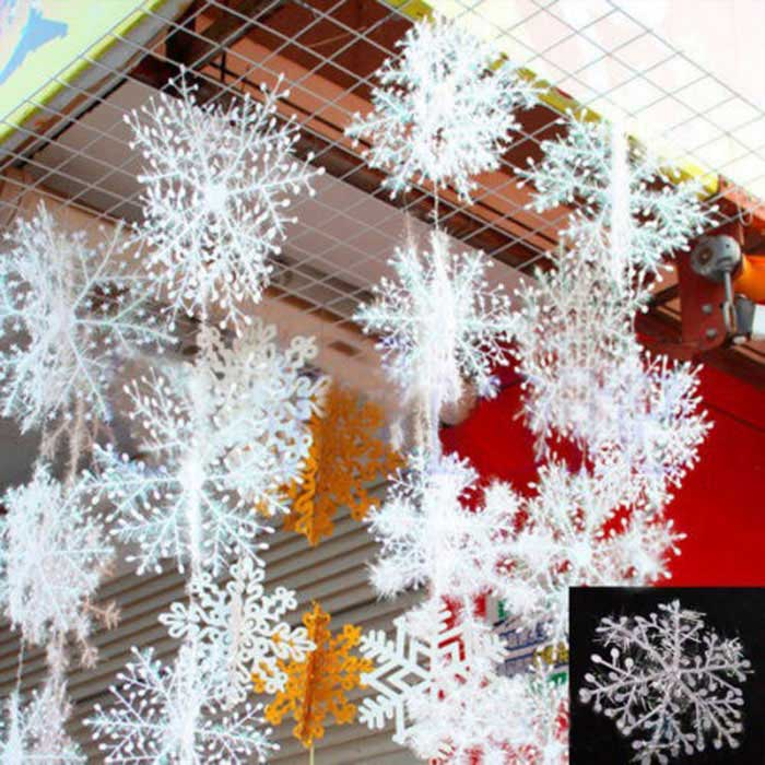 Christmas Tree Ornaments 6cm Snowflake Sheet - White (30 PCS)