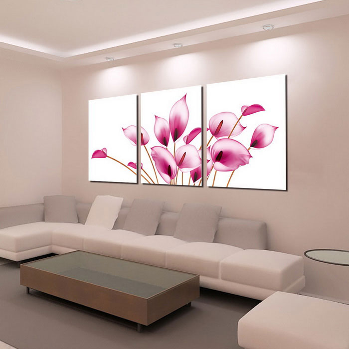 bizhen pink flowers painting canvas wall art pictures pink 3pcs free shipping dealextreme. Black Bedroom Furniture Sets. Home Design Ideas