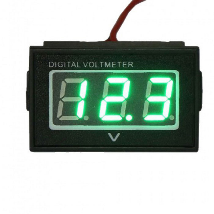 Waterproof Monitor Battery Meter 2.7-30V DC Auto Gauge Small Digital Voltmeter Green LED Reverse