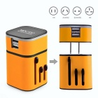 MOCREO 719 3.2A 1400W Detachable Universal Travel AU / US / UK / EU Plug Charger w/ Dual USB -Yellow