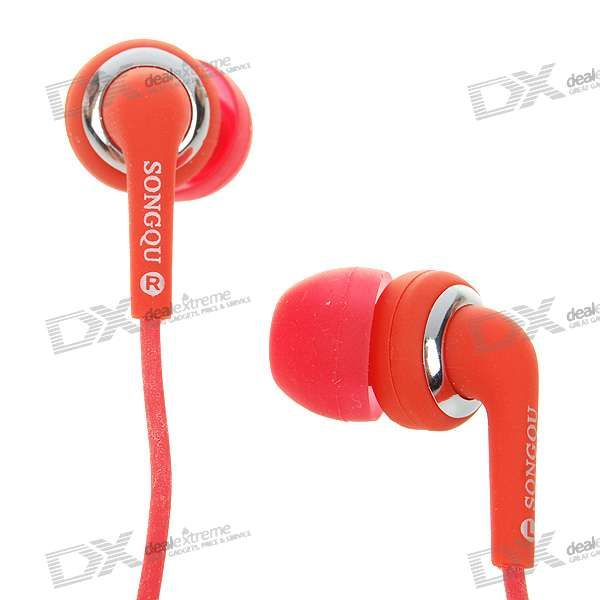Stylish Noise Isolation In-Ear Stereo Earphone - Red (3.5mm Jack/1.4M-Cable)