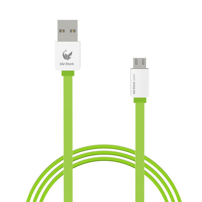 OLDSHARK Micro USB to USB 2.0 Flat Charging Cable - Green (1m)