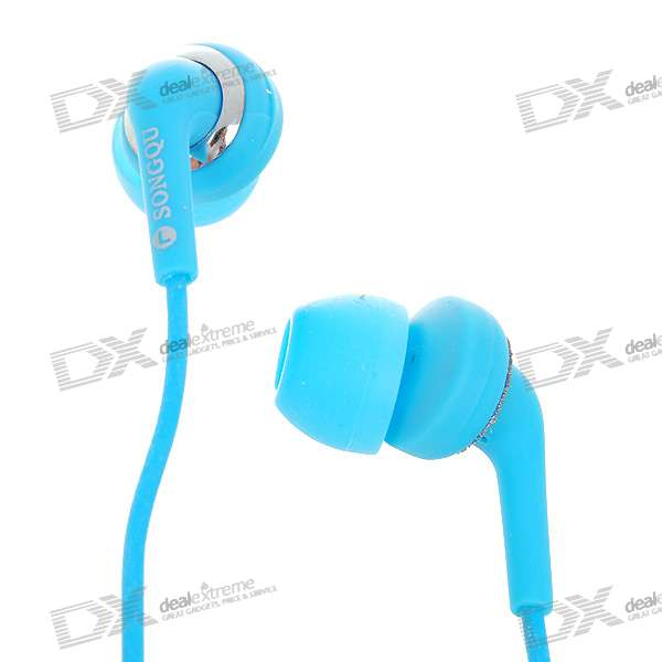 Stylish Noise Isolation In-Ear Stereo Earphone - Blue (3.5mm Jack/1.4M-Cable)