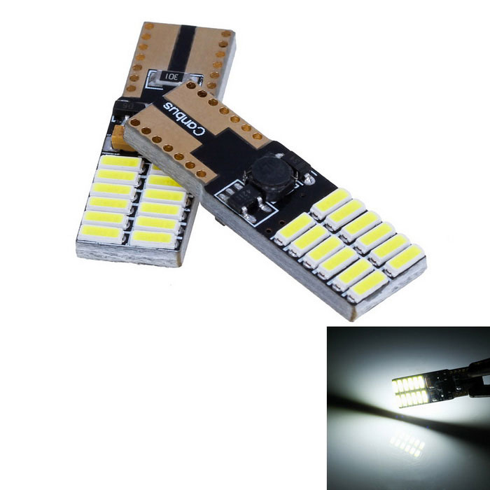 T10 4,5W 360lm Branco 24-SMD Luz LED Car Width Lamp / License Plate