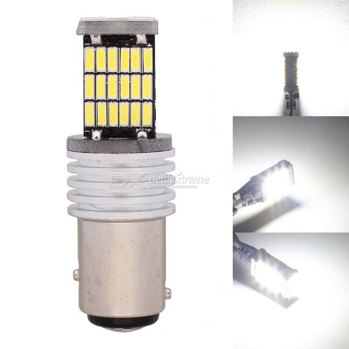 MZ 1157 P21/5W BAY15D Car LED Tail Brake / Parking Light White 45-SMDFog Lights<br>Color Temperature6500K - 1157ModelN/AQuantity1 DX.PCM.Model.AttributeModel.UnitMaterialPCBForm ColorYellowCompatible Car ModelUniversalRate Voltage12Power9WColor BINWhiteTheoretical Lumens500 DX.PCM.Model.AttributeModel.UnitActual Lumens450 DX.PCM.Model.AttributeModel.UnitConnector TypeOthers,1157Emitter TypeLEDChip BrandOthers,N/AChip Type4014 SMD LEDTotal EmittersOthers,45Color Temperature6500 DX.PCM.Model.AttributeModel.UnitWaterproof FunctionNoApplicationBrake light,Backup light,Steering light,Foglight,Daytime running lightPacking List1 x LED Light<br>