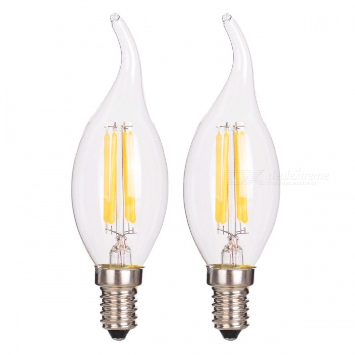 JRLED E14 4W 4-COB Candle Lamp Warm White 3000K 400lm (2PCS)