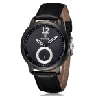 SKONE Unisex Fashion PU Band Analog Quartz Wrist Watch - Black