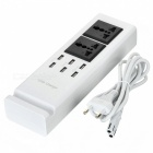 5V 7.2A 6-Port USB EU Plug Charger w/ 2 Power Sockets - White + Black