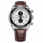 MEGIR Men's Waterproof Outdoor Leather Band Sports Quartz Watch w/ Calendar - Brown + White