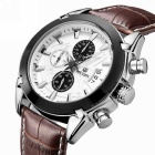 MEGIR Men's Waterproof Leather Band Watch w/ Calendar - Brown White