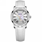 MEGIR Fashion Lady's Diamond Inlaid Leather Band Quartz Watch w/ Calendar - White + Silver