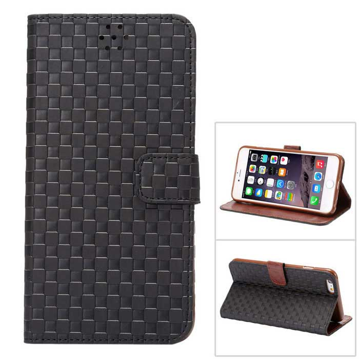 MO.MAT Flip Open Grid Pattern Wallet Case w/ Stand / Card Slot - Black