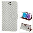 MO.MAT Gird Pattern PU Leather Wallet Case for Samsung Galaxy Note5 w/ Stand / Card Slot - Gray