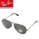 Genuine Ray-Ban RB3025 002/58 58M UV400 Protection Polarized Glass Sunglasses - Black + Dark Green