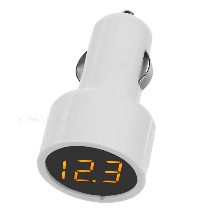 Portable 12/24V Car Voltmeter w/ 3-Yellow Digital Tube Display - White(SKU 414378)