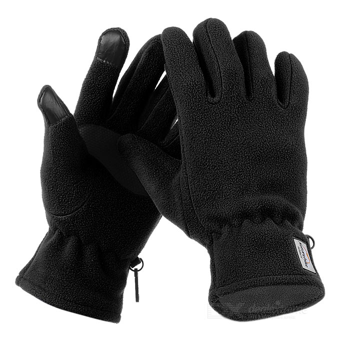 NatureHike Wind-proof Warm Full-Finger Fleece Gloves - Black (Pair/M)