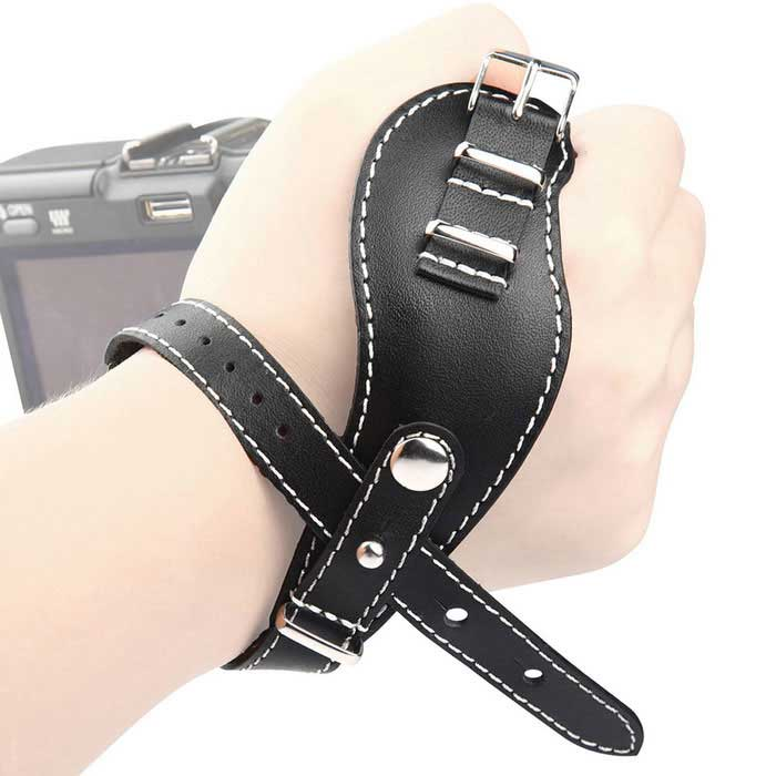 LYNCA VDS5 Natural Calf Camera Wrist Band for Nikon, Samsung - Black