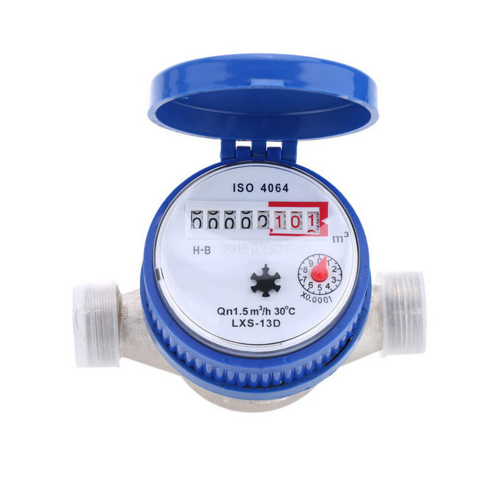 Single Flow Dry Cold Water Table 15mm Water Meter Set - BlueAccessories<br>Form ColorBlue + Silver + Multi-ColoredModelTS-S300EMaterialMetalQuantity1 DX.PCM.Model.AttributeModel.UnitStyleContemporaryOther FeaturesGrade: B <br>Nominal Flow-rate: 1.5 <br>Transitional Flow-rate: 0.12 <br>Minimum Discharge: 0.03 <br>Minimum Reading: 0.0001 <br>Maximum Reading: 99999 <br>Water Temperature: 040 <br>Pressure: 1MPaPacking List1 x Water Meter 2 x Screws 2 x Screw Nuts 2 x Spacers<br>
