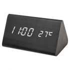 Triangle Dual-Screen White Light Wooden LED Clock w/ Alarm Clock, Temperature - Black