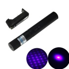 303 Duralumin 5mW 405nm Starry Blue-Violet Laser Pointer Pen w/ US Plug Charger - Black + Silver