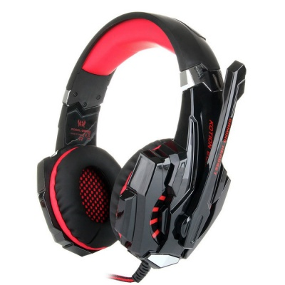 KOTION EACH G9000 3.5mm Glaring LED Light Gaming Headset - Red + Black
