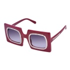 OREKA 1110 Fashion Square UV400 Protection PC Sunglasses for Women - Red+ Grey