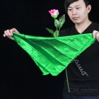 Magic Floatable Manmade Plastic Rose + Silk Scarf - Green + Dark Pink
