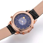 MEGIR Waterproof Leather Band Watch w/ Calendar - Black + Rose Golden