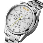 MEGIR Men's Waterproof Steel Band Analog Quartz Watch - Silver