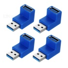 USB 3.0 Male to Female 90 Degree Angled L Shape Adapter - Blue + Silver (4PCS)
