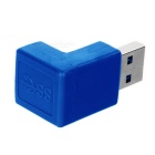 USB 3.0 Male to Female 90 Degree Angled Adapter - Blue + Silver (4PCS)