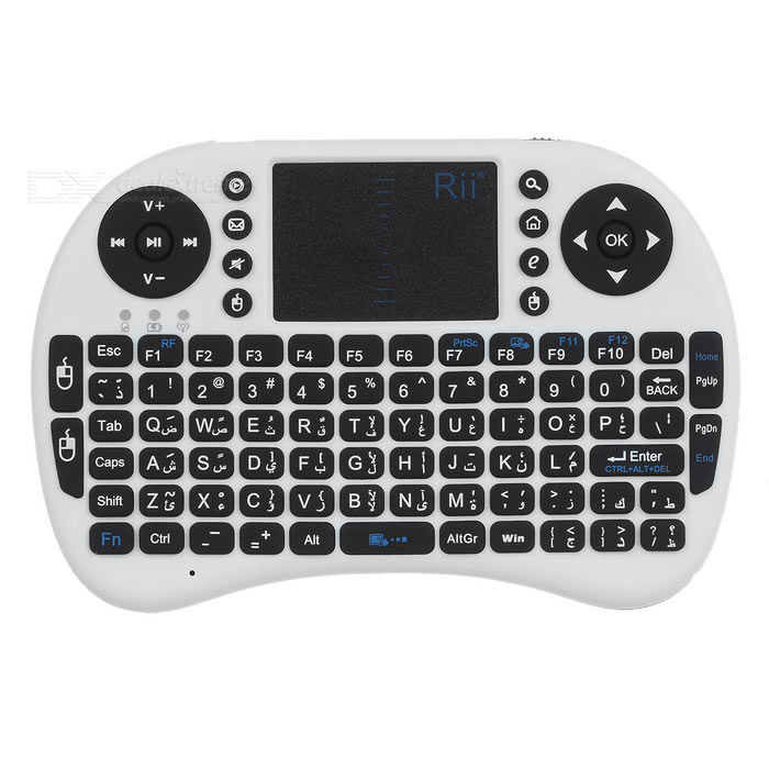 Rii RT-MWK08 Mini 2.4G Wireless Keyboard w/ Touchpad - White (Arabic)Wireless Keyboards<br>Form  ColorWhiteModelRT-MWK08MaterialABSQuantity1 DX.PCM.Model.AttributeModel.UnitInterfaceUSB 2.0Wireless or Wired2.4G WirelessBluetooth VersionNoCompatible BrandAPPLE,Dell,HP,Toshiba,Acer,Lenovo,Samsung,MSI,Sony,IBM,Asus,Thinkpad,Huawei,GoogleTracking MethodTouch PadBack-litNoOperation Distance10 DX.PCM.Model.AttributeModel.UnitKey Travel10 DX.PCM.Model.AttributeModel.UnitPowered ByBuilt-in BatteryBattery included or notYesCharging Time1 DX.PCM.Model.AttributeModel.UnitBattery Capacity810 DX.PCM.Model.AttributeModel.UnitWaterproofNoSupports SystemWin xp,Win 2000,Win 2008,Win vista,Win7 32,Win7 64,Win8 32,Win8 64,Linux,Android 2.x,Android 4.xOther FeaturesKey numbers: 92Packing List1 x Keyboard1 x USB receiver1 x Data cable (80cm)1 x English manual<br>