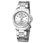 MEGIR Women's Waterproof Stainless Steel Band Analog Quartz Watch - Silver + White (1 x SR626-06)